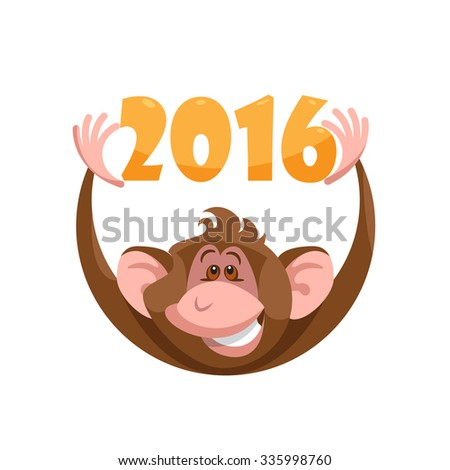 Design vector illustration new year card. Happy monkey holds 2016. - stock vector
