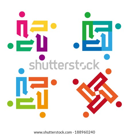 Design vector logo element. Abstract people icon. You can use in the media, mobile, public groups, alliances, environmental, mutual aid associations and other social welfare agencies.  - stock vector