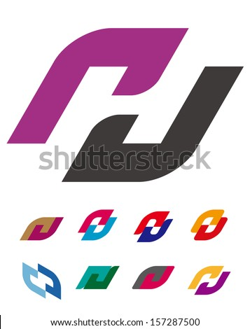 "Design vector logo template. ""c"", ""d"", ""p"", ""u"", ""n"", ""h"", ""s"" letters icon set. You can use in the commerce, traffic, financial, construction and communication concept of pattern.  - stock vector"