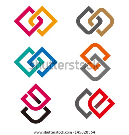 """Design vector logo template. """"g"""", """"c"""", """"e"""", """"o"""" , """"s"""" letters icon set. You can use in the commerce, financial, construction ,spinning and communication concept of pattern.  - stock vector"""