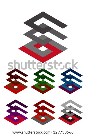 Design vector logo template. Icon set. You can use in the buildings, apartments, real estate and other three-dimensional concept of pattern - stock vector