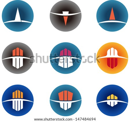 Design vector logo template. Icon set. You can use in the buildings, apartments, real estate and other organization concept of pattern.  - stock vector