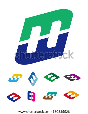 "Design vector logo template. ""m"", ""e"", ""w"", ""h"" letters icon set. You can use in the commerce, traffic, financial, construction and communication concept of pattern.  - stock vector"