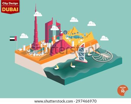 design vector of dubai UAE,dubai city design in perspective,cute design of dubai - stock vector