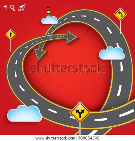 Design vector road in form of heart with clouds and traffic signs. Romantic background with concept of travel, Greeting card Valentines Day, Vector Illustration EPS 10. - stock vector