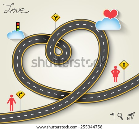 Design vector road in form of heart with woman and man icons. Vector Illustration EPS 10. - stock vector