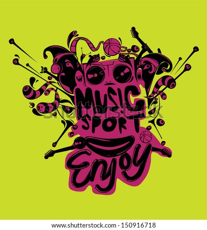 design vector sport and music yellow background - stock vector