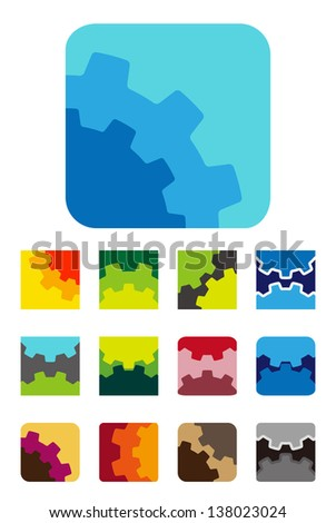 Design vector square logo element. Colorful abstract gears pattern, cute icon set. You can use the machinery, factories,games, app, electronic or creative design concepts. - stock vector