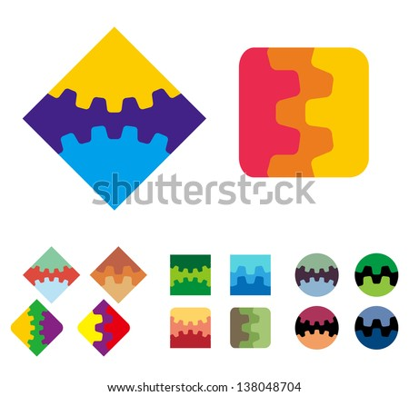 Design vector square logo element. Colorful abstract gears pattern, cute icon set. You can use the machinery, app, factories,games, electronic or creative design concepts. - stock vector