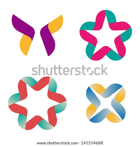 Design vector wave ribbons logo template. Icon set. You can use in the commerce, financial, construction ,spinning and communication concept of pattern. - stock vector