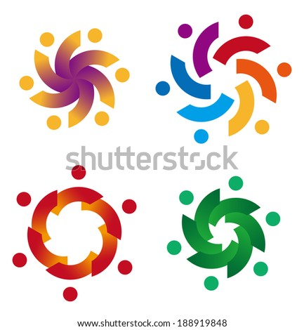 Design vector wave star logo element. Abstract people icon. You can use in the media, mobile, kids groups, alliances, environmental, mutual aid associations and other social welfare agencies.  - stock vector