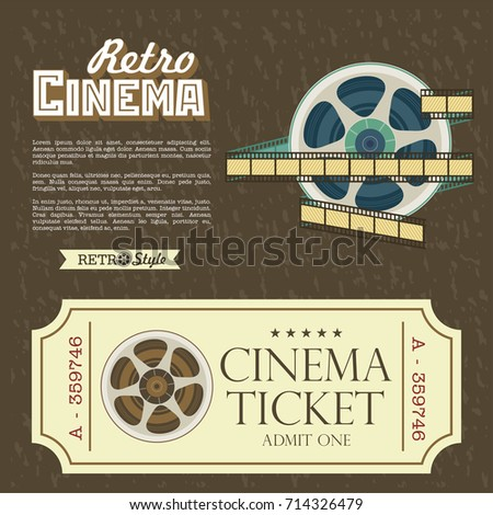 Design Vintage Cinema Tickets Vector Poster Retro Movie Theater With Place For Text
