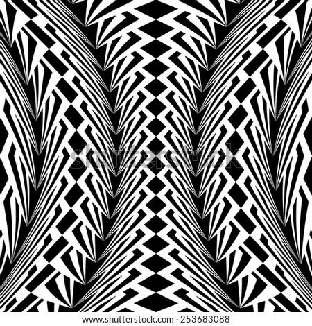 Design warped monochrome vertical geometric pattern. Abstract stripy textured background. Vector art. No gradient - stock vector