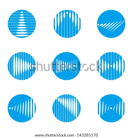 Design wave round vector logo template. Rectangular, rhombus icon set. You can use in the construction, factories, mobile, media, communications, electronics, or creative design concepts - stock vector