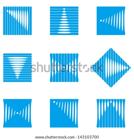Design wave square vector logo template. Rectangular, rhombus icon set. You can use in the construction, factories, communications, electronics, or creative design concepts - stock vector