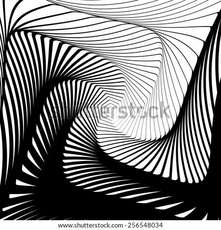 Design whirlpool movement illusion background. Abstract hexagon distortion twisted geometric backdrop. Vector-art illustration. No gradient - stock vector
