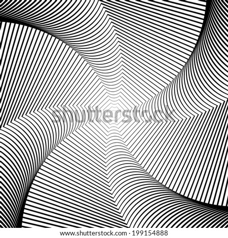 Design whirlpool movement illusion background. Abstract lines distortion geometric backdrop. Spider web twisted texture. Vector-art illustration