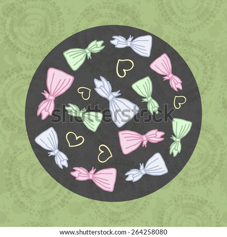 Design with candy in the form of bags and heard. - stock vector