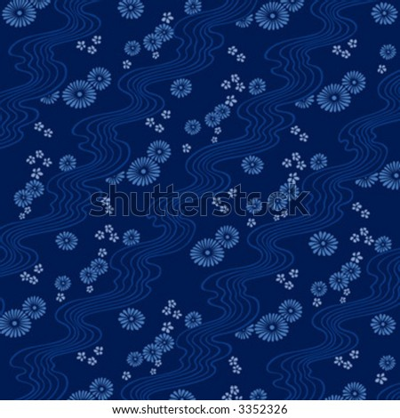 design with flowers and waves, background illustration