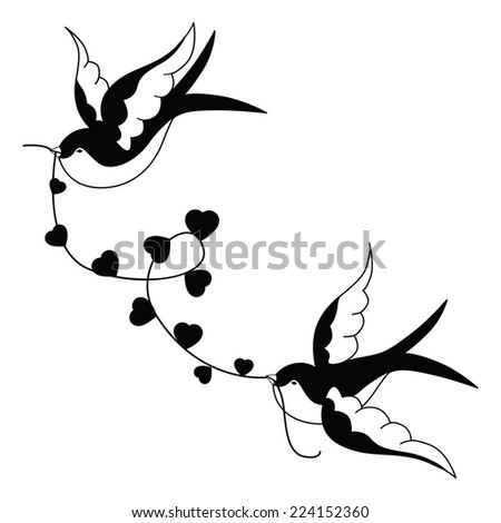 Design with swallows - stock vector