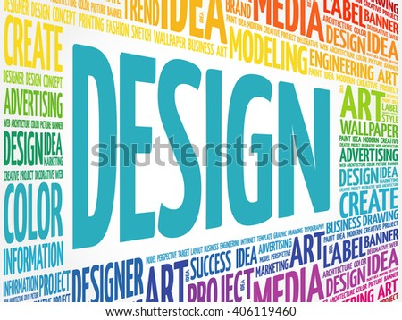 DESIGN word cloud, creative business concept background - stock vector