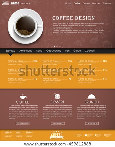 Design yellow and brown web site with a banner and a cup of black coffee, top view. Template with hand drawings in the background. The menu for the cafe, shops and restaurants. Vector illustration.