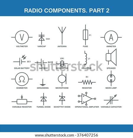 Designation Components Wiring Diagram Vector Format Stock Vector ...