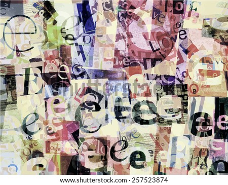 Designed background. Handmade collage made of newspaper and magazine clippings - stock vector