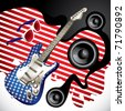 Designed background with stylish electric guitar. Vector illustration. - stock vector