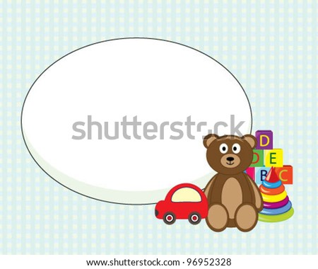 Designed frame for greeting card with toys - stock vector