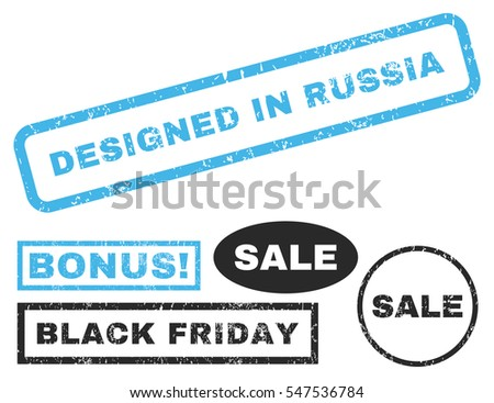 Designed In Russia rubber seal stamp watermark with additional banners for Black Friday offers. Vector blue and gray stickers. Tag inside rectangular banner with grunge design and scratched texture.
