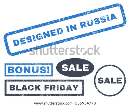 Designed In Russia rubber seal stamp watermark with bonus design elements for Black Friday offers. Vector smooth blue stickers. Tag inside rectangular shape with grunge design and unclean texture.