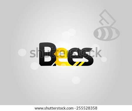 Designed word Bees with and bee  - stock vector