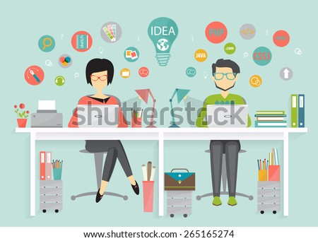 designer and programmer, work process, flat design style - stock vector