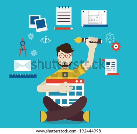 Designer and work - vector illustration - stock vector