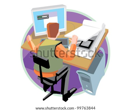 Designer at work design and print service vector icon illustration - stock vector