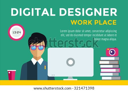 Designer at workplace vector silhouette. Designer boy work infographic. People at work. Creative office life. People in action. Computer, table, books, clock, coffee cup. Digital designer silhouette - stock vector