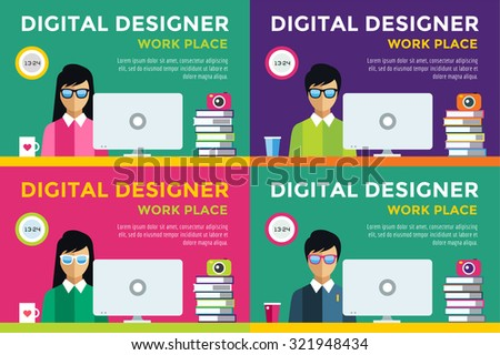 Designer at workplace vector silhouette. Designer girl work infographic. People at work. Creative office life. People in action. Computer, table, books, clock, coffee cup. Digital designer silhouette - stock vector