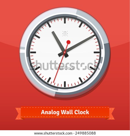 Designer clock in a metal casing on red wall. Flat style illustration or icon. EPS 10 vector. - stock vector