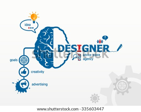 Designer design illustration concepts and brain for business, consulting. Hand writing Designer with blue marker
