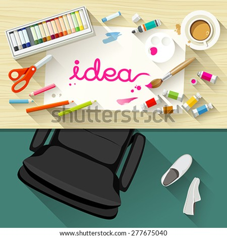 Designer desk artist, collections of flat design of paintbrush, white paper, watercolor concept, Equipment used for design, Top view of desk background, vector illustration - stock vector