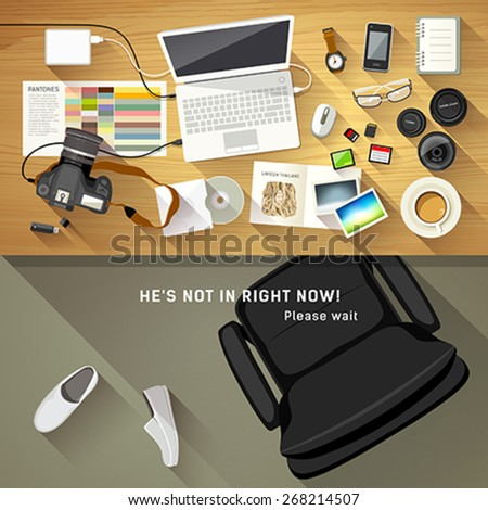 Designer desk photographer, collections of flat design of computer, camera and camera lens, Designers are resting concept, Equipment used for design, Top view of desk background, vector illustration