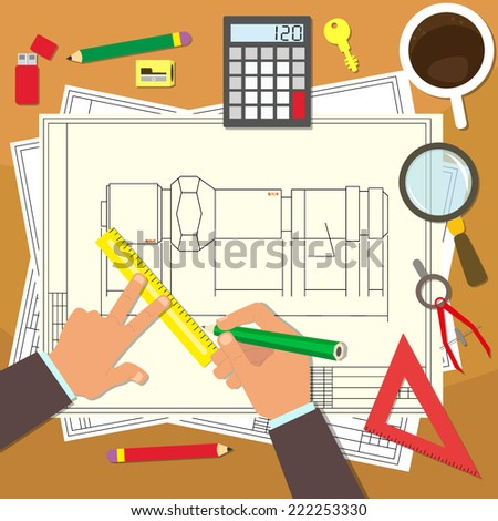 Designer draws item on Whatman paper. Design Bureau. drafting. vector illustration in a flat style. first-person. - stock vector