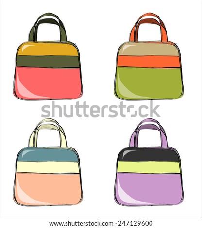 Designer female bags. - stock vector