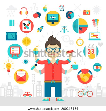 Designer icons set. Vector illustration. - stock vector