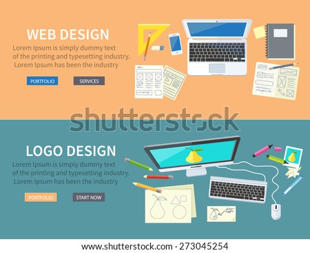 Designer office workspace with tools and devices in modern flat style. Creative process, logo and graphic design, design agency. Top view banners with buttons - stock vector