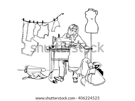 designer, seamstress at work