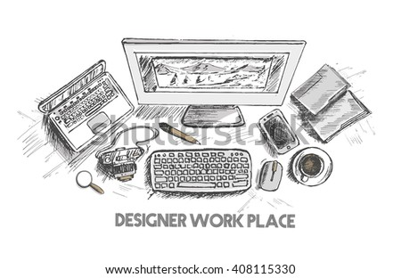 designer workplace hand drawn sketch top view, vector illustration  - stock vector