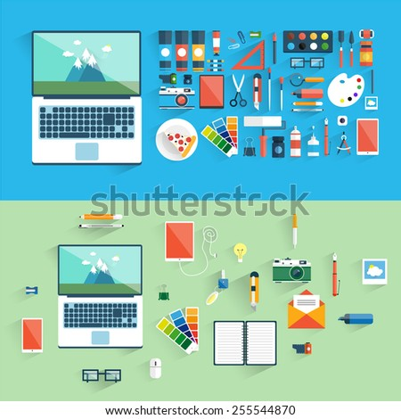 Designer workspace with tools and devices in modern flat style. Designer and desktop. Set of flat icons. Banners. Top view. - stock vector