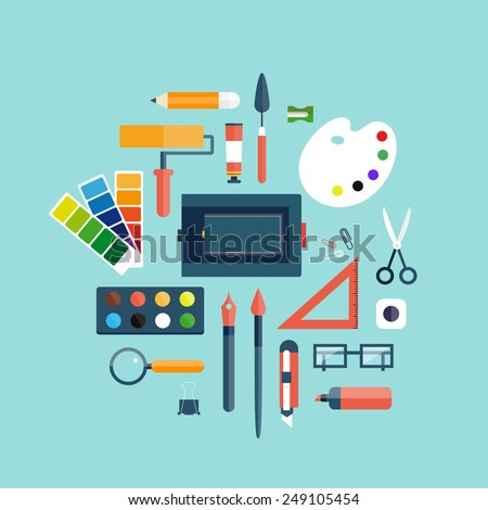 Designer workspace with tools and devices in modern flat style. Desktop. Vector illustration concept of creative work. Set of flat icons for web and mobile applications. Banners. Top view. - stock vector